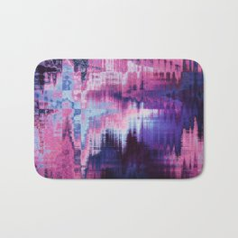 Violet Abstract Glitch effect Bath Mat