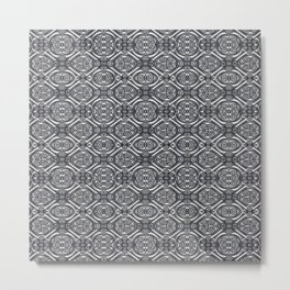Silver Ornate Decorative Seamless Mosaic Metal Print