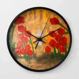 150 Years of CU - An Alumni Anniversary Tribute with Red Tulip Flowers Wall Clock