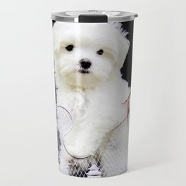 Lancelot the Maltese Puppy in Silver Sled with Red Christmas Poinsettia Travel Mug