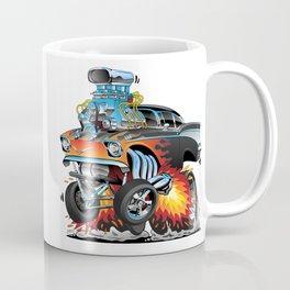Classic hotrod 57 gasser drag racing muscle car cartoon Coffee Mug