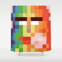 nintendo Shower Curtains featuring Bit Moth Super Nintendo by Marc Beaudette