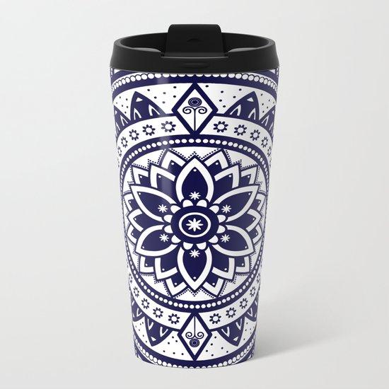 Blue & White Patterned Flower Mandala Design Metal Travel Mug