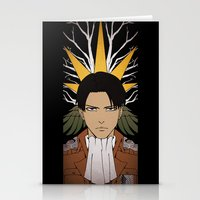 shingeki no kyojin Stationery Cards featuring Shingeki no Kyojin - Levi card by kamikaze43v3r