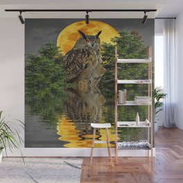 NIGHT OWL  FULL MOON WATER REFLECTION Wall Mural