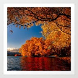 Autumn Photography - Orange Trees By A Lake Art Print