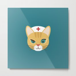 Nurse Cat ~ Teal Metal Print