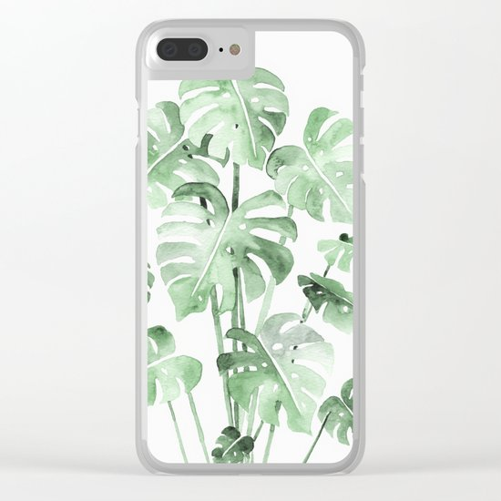 Delicate Monstera Green #society6 Clear iPhone Case