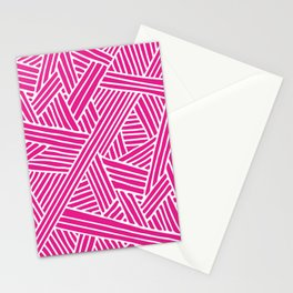 Abstract pink & white Lines and Triangles Pattern - Mix and Match with Simplicity of Life Stationery Cards