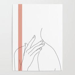 Hands line drawing illustration - Danna stripe Poster