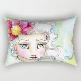 Lotus Flower Girl Rectangular Pillow