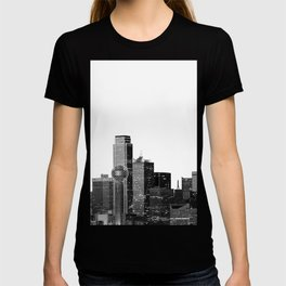 Dallas Texas Skyline in Black and White T-shirt