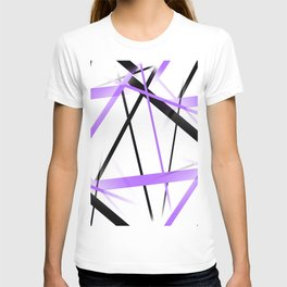 Criss Crossed Lilac and Black Stripes on White T-shirt
