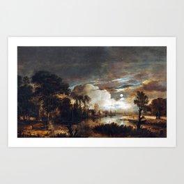 Aert van der Neer Moonlit Landscape with a View of the New Amstel River and Castle Kostverloren Art Print