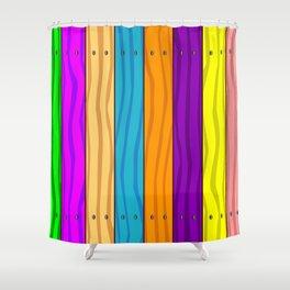 Rainbow Fence Shower Curtain