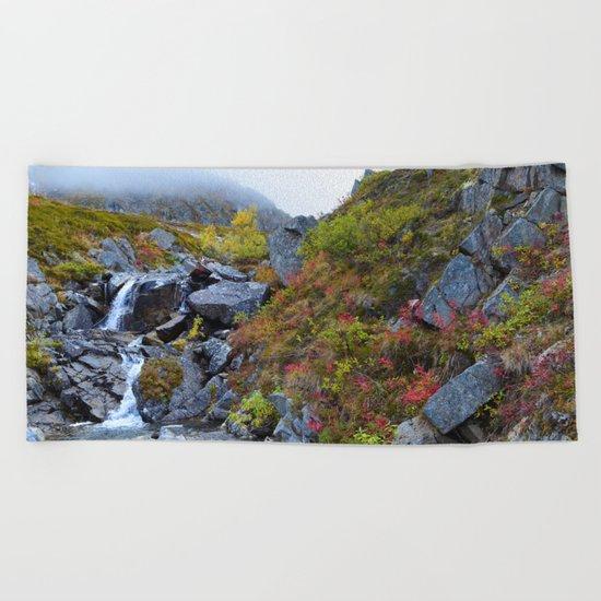 Independence Mine Waterfall Beach Towel