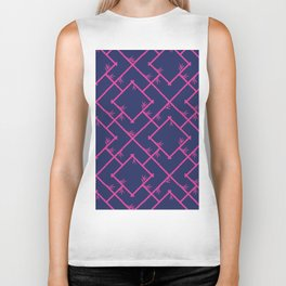 Bamboo Chinoiserie Lattice in Navy + Pink Biker Tank