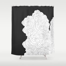 La Vie en Rose (black) Shower Curtain