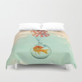 parachute goldfish Duvet Cover