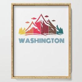 Retro Mountain Washington Design  for Men Women and Kids Serving Tray