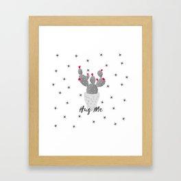 Hug Me Cactus in Pot Hearts Design Framed Art Print