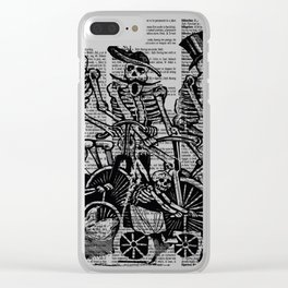 Calavera Cyclists | Black and White Clear iPhone Case