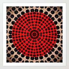 Bronze Red Black Mandala Circle Art Print