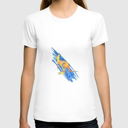 Colored hand sketch leaping kangaroo T-shirt
