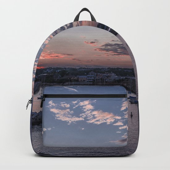 Sunset over Rockport Harbor Backpack