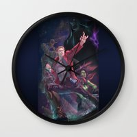 guardians of the galaxy Wall Clocks featuring Guardians Of The Galaxy by Arashi.C