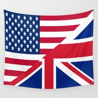 union jack Wall Tapestries featuring American and Union Jack Flag by Smyrna