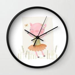 sweet dancing pig Wall Clock