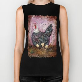 Blue Hen With Chicks Transparent Biker Tank