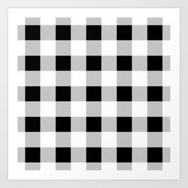 western country french farmhouse black and white plaid tartan gingham print Art Print