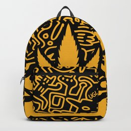 Uptown Growlab Gold Cannabis Crown and Script Wordmark Backpack