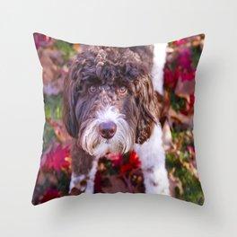 Labradoodle In Autumn Throw Pillow