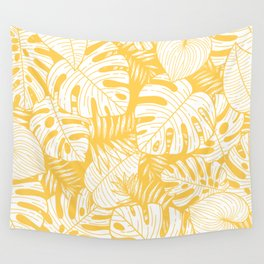 TROPICAL LEAVES ON YELLOW Wall Tapestry