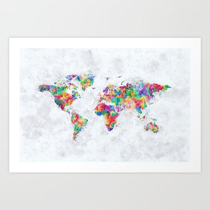 Colorful World Map Art.Colorful World Map Art Print By Tmarchev Society6