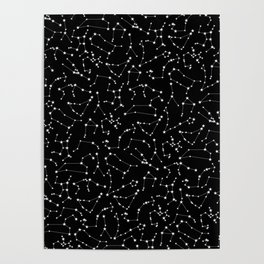 Zodiac Star Constellations Pattern Poster