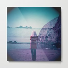 Awaiting the Waves - Girl on the Oregon Coast - Holga Double Exposure Film Photograph Metal Print
