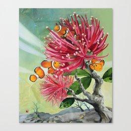 Clownfish & Ohia Canvas Print