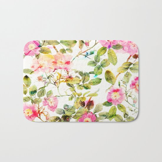 soft pink rosebush Bath Mat