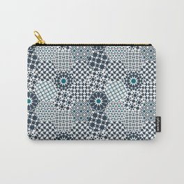 Spanish Tiles of the Alhambra - Gray & dark Aquamarine Carry-All Pouch