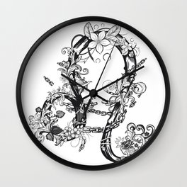 lion black and white zodiac sign Wall Clock