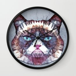abstract grouchy cat Wall Clock