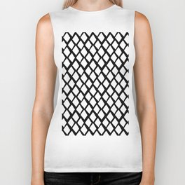 Rhombus White And Black Biker Tank