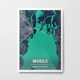 Mobile Blue Dark Color City Map Metal Print