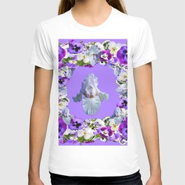 SPRING LILAC PURPLE PANSY FLOWERS & WHITE IRIS PATTERN T-shirt