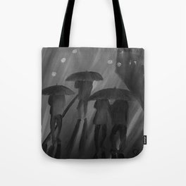 Feeling Blue by Lu, black-and-white Tote Bag