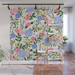 French Country Garden Print Wall Mural